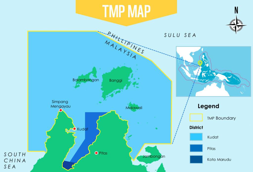 Kaart van het nieuwe Tun Mustapha Park (TMP) - Illustratie: WWF Malaysia