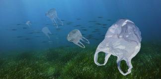 Plastic tasjes in de zee