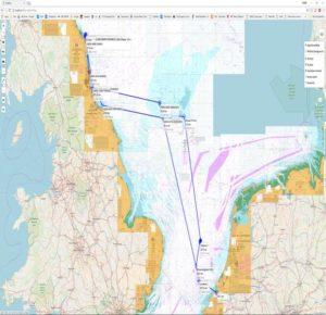 Vaarroute twaalfde duikexpeditie Stichting Duik de Noordzee Schoon